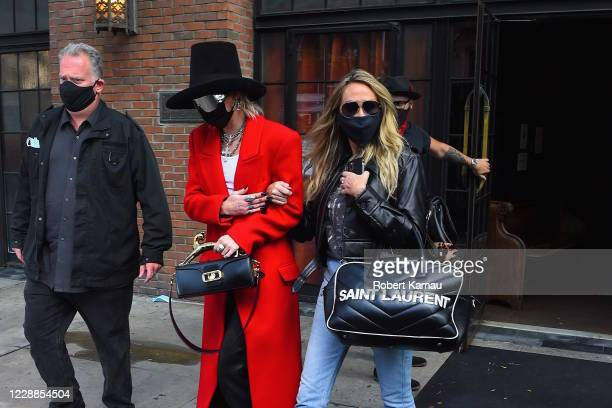 Miley Cyrus and her mother Tish Cyrus are seen in Manhattan on October 2, 2020 in New York City.
