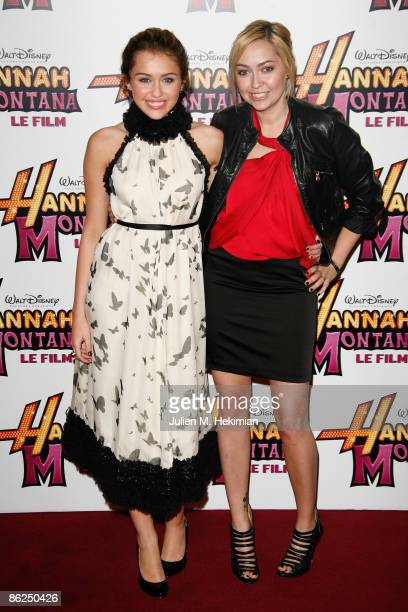 Miley Cyrus and her sister Brandi Cyrus attend the premiere of Hannah Montana The Movie on April 27 2009 in Paris France