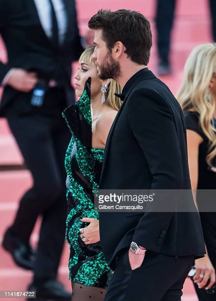 Miley Cyrus and Liam Hemsworth are seen arriving to the 2019 Met Gala Celebrating Camp Notes on Fashion at The Metropolitan Museum of Art on May 6...
