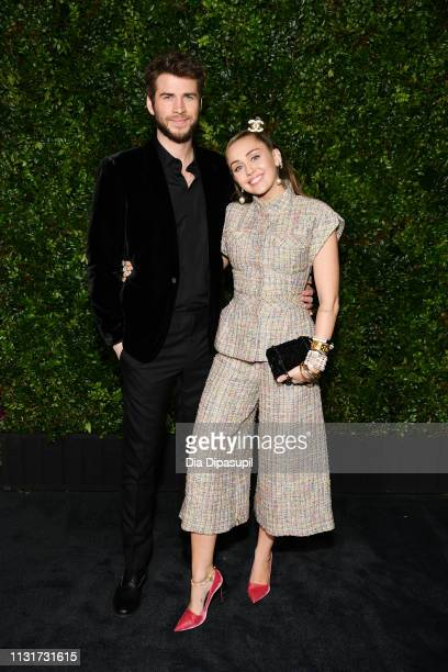 Miley Cyrus and Liam Hemsworth attend Chanel And Charles Finch PreOscar Awards Dinner At The Polo Lounge in Beverly Hills on February 23 2019 in...