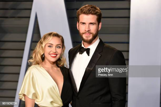 Miley Cyrus and Liam Hemsworth attend the 2018 Vanity Fair Oscar Party Hosted By Radhika Jones Arrivals at Wallis Annenberg Center for the Performing...