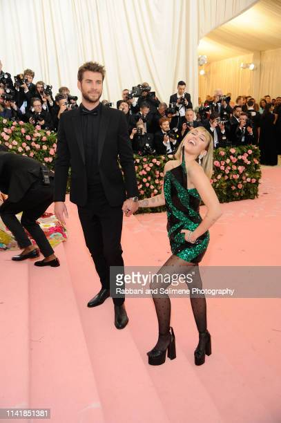 Miley Cyrus and Liam Hemsworth attends The 2019 Met Gala Celebrating Camp Notes On Fashion Arrivalsat The Metropolitan Museum of Art on May 6 2019 in...