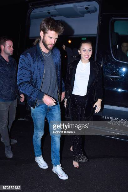 Miley Cyrus and Liam Hemsworth seen at the SNL after party at Sarabeth's restaurant in Manhattan on November 4 2017 in New York City