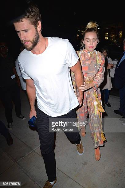 Miley Cyrus and Liam Hemsworth seen out in Manhattan on September 15 2016 in New York City