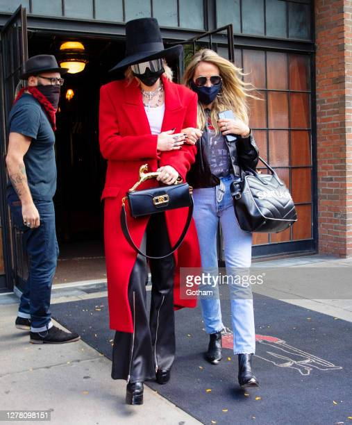 Miley Cyrus and mom Tish Cyrus depart their hotel on October 02, 2020 in New York City.