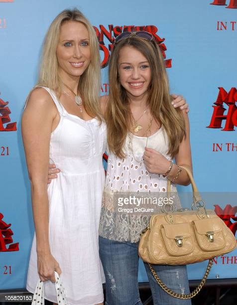"""Miley Cyrus and Mom Tish during """"Monster House"""" Los Angeles Premiere - Arrivals at Mann Village Theatre in Westwood, California, United States."""