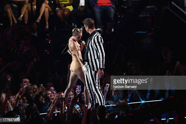 Miley Cyrus and Robin Thicke performs onstage during the 2013 MTV Video Music Awards at the Barclays Center on August 25 2013 in the Brooklyn borough...