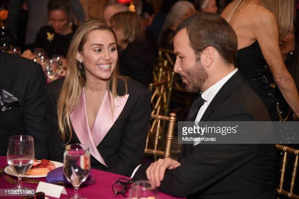 Miley Cyrus and Tom Ford attend WCRF's 'An Unforgettable Evening' at the Beverly Wilshire Four Seasons Hotel on February 28 2019 in Beverly Hills...