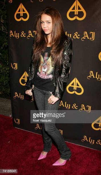 Miley Cyrus arrives at Aly AJ's Birthday Party at Les Deux nightclub on May 14 2007 in Los Angeles California