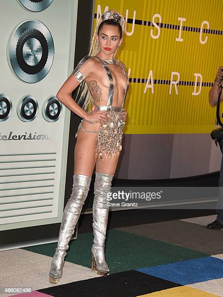 Miley Cyrus arrives at the 2015 MTV Video Music Awards at Microsoft Theater on August 30 2015 in Los Angeles California