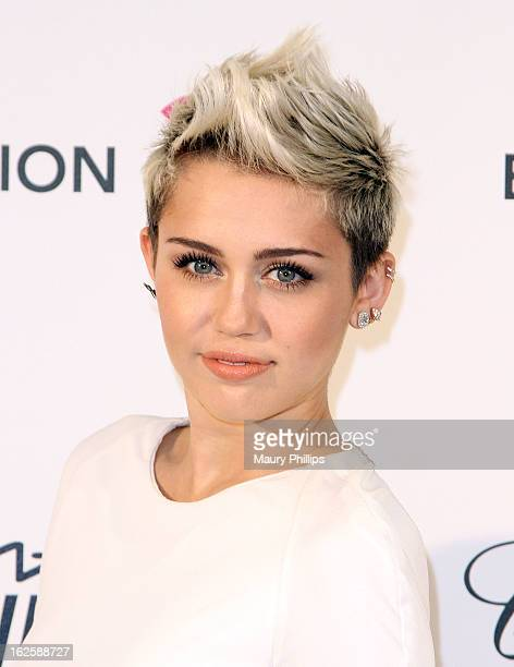 Miley Cyrus arrives at the 21st Annual Elton John AIDS Foundation Academy Awards Viewing Party at Pacific Design Center on February 24, 2013 in West...