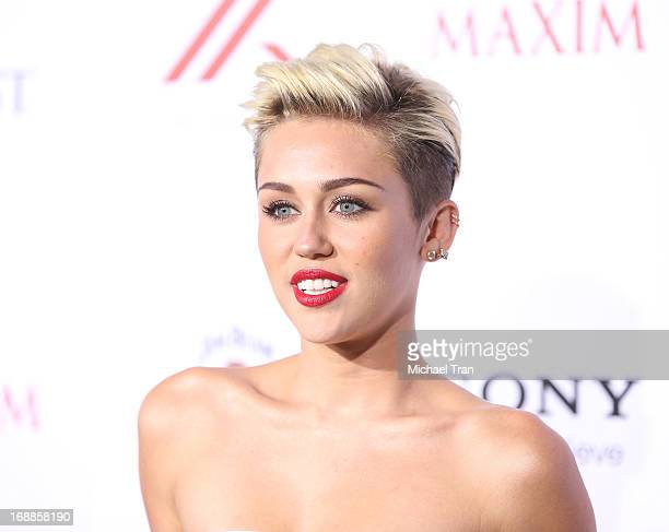 Miley Cyrus arrives at the Maxim 2013 Hot 100 Party held at Create on May 15, 2013 in Hollywood, California.