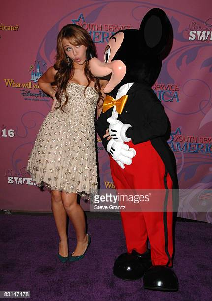 Miley Cyrus arrives at the Miley Cyrus's 'Sweet 16' Celebration At Disneyland on October 5 2008 in Anaheim California