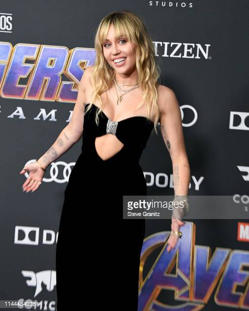 Miley Cyrus arrives at the world premiere Of Walt Disney Studios Motion Pictures Avengers Endgame at Los Angeles Convention Center on April 22 2019...