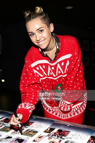 Miley Cyrus attends 933 FLZ's Jingle Ball 2013 at the Tampa Bay Times Forum on December 18 2013 in Tampa Florida