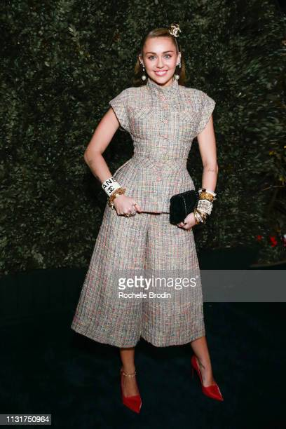 Miley Cyrus attends Charles Finch And CHANEL's 11th Annual PreOscar Awards Dinner at Polo Lounge at The Beverly Hills Hotel on February 23 2019 in...