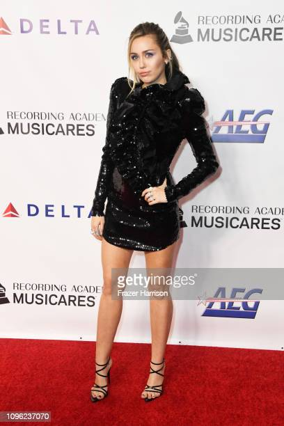 Miley Cyrus attends MusiCares Person of the Year honoring Dolly Parton at Los Angeles Convention Center on February 8 2019 in Los Angeles California