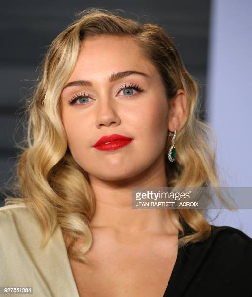 Miley Cyrus attends the 2018 Vanity Fair Oscar Party following the 90th Academy Awards at The Wallis Annenberg Center for the Performing Arts in...