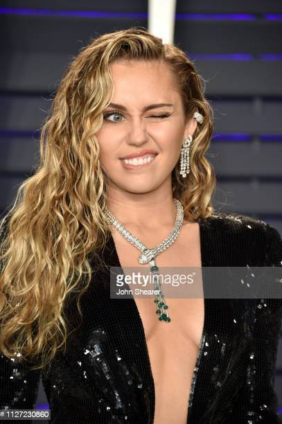 Miley Cyrus attends the 2019 Vanity Fair Oscar Party hosted by Radhika Jones at Wallis Annenberg Center for the Performing Arts on February 24, 2019...