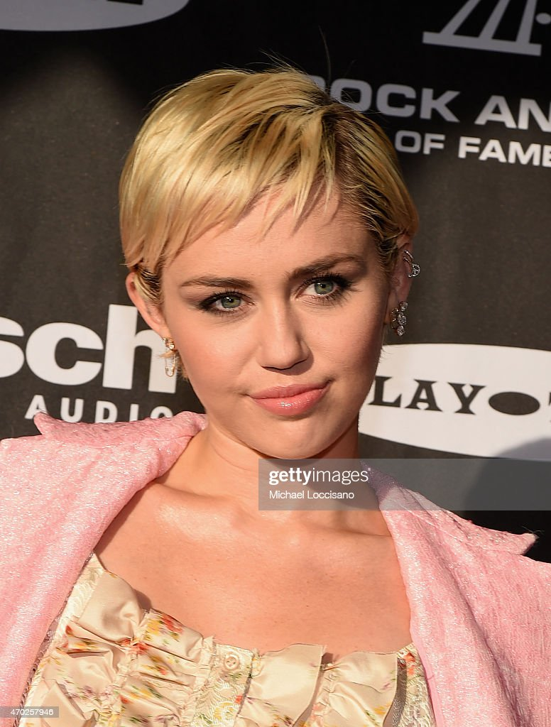 Miley Cyrus attends the 30th Annual Rock And Roll Hall Of Fame Induction Ceremony at Public Hall on April 18, 2015 in Cleveland, Ohio.