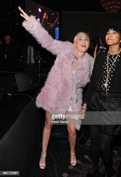 Miley Cyrus attends the 56th annual GRAMMY Awards PreGRAMMY Gala and Salute to Industry Icons honoring Lucian Grainge at The Beverly Hilton on...