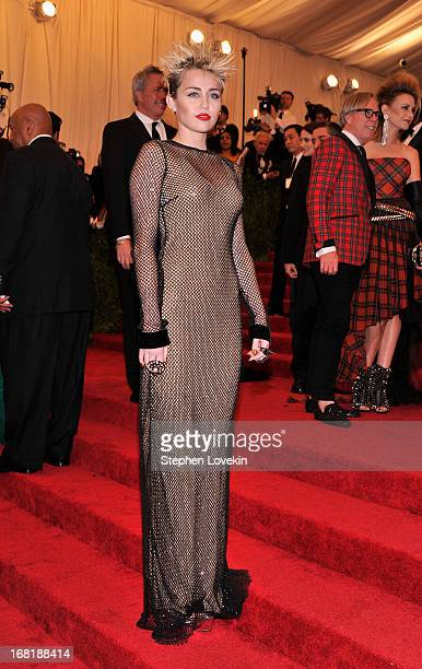 Miley Cyrus attends the Costume Institute Gala for the PUNK Chaos to Couture exhibition at the Metropolitan Museum of Art on May 6 2013 in New York...