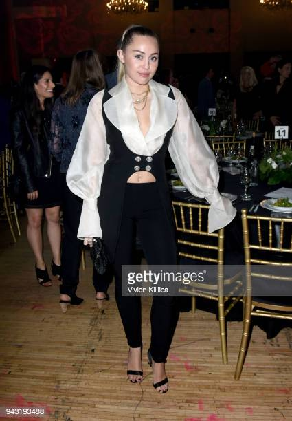 Miley Cyrus attends the My Friend's Place 30th Anniversary Gala at Hollywood Palladium on April 7 2018 in Los Angeles California