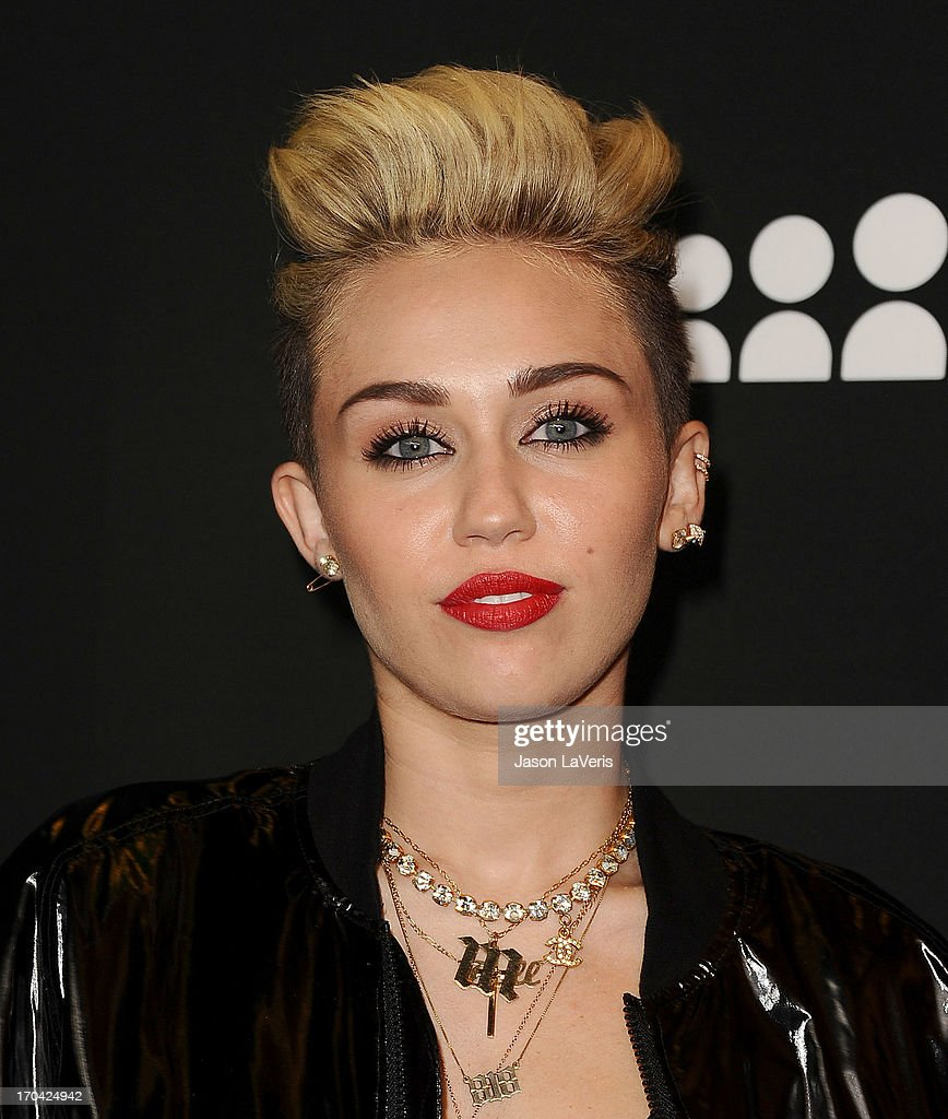 Miley Cyrus attends the Myspace artist showcase event at El Rey Theatre on June 12, 2013 in Los Angeles, California.