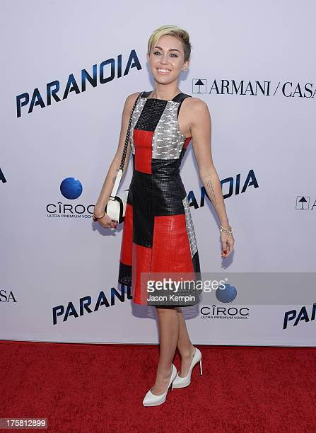 Miley Cyrus attends the premiere of Relativity Media's 'Paranoia' at DGA Theater on August 8 2013 in Los Angeles California