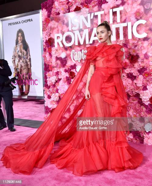 Miley Cyrus attends the premiere of Warner Bros. Pictures' 'Isn't It Romantic' at The Theatre at Ace Hotel on February 11, 2019 in Los Angeles,...