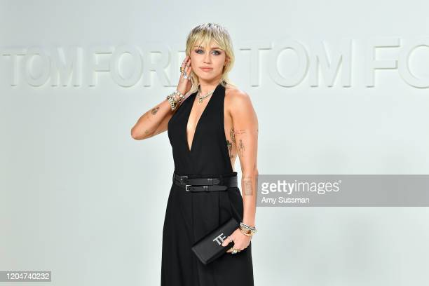 Miley Cyrus attends the Tom Ford AW20 Show at Milk Studios on February 07 2020 in Hollywood California