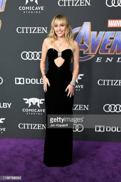 Miley Cyrus attends the world premiere of Walt Disney Studios Motion Pictures Avengers Endgame at the Los Angeles Convention Center on April 22 2019...
