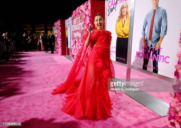 "Miley Cyrus attends the World Premiere of Warner Bros. Pictures' ""Isn't It Romantic"" at The Theatre at Ace Hotel on February 11, 2019 in Los Angeles,..."