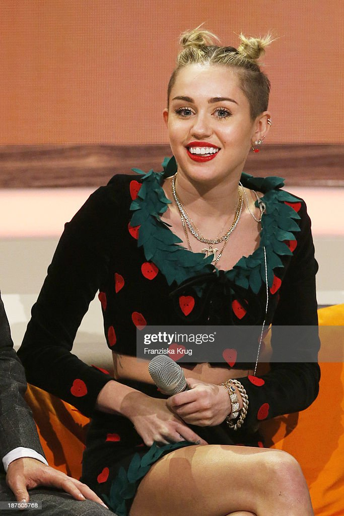 Miley Cyrus attends Wetten, dass..? tv show on November 09, 2013 in Halle an der Saale, Germany.