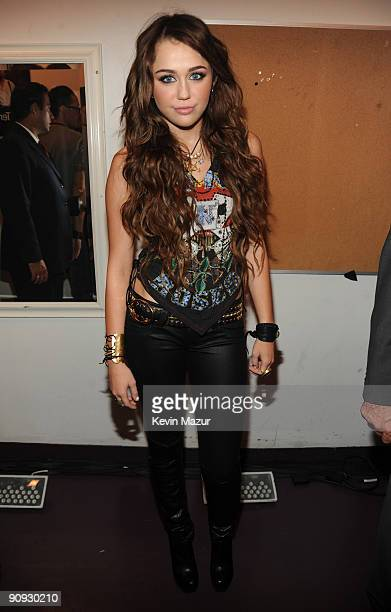 Miley Cyrus backstage at Brooklyn Academy of Music on September 17 2009 in New York New York