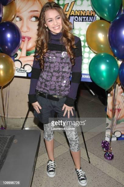 Miley Cyrus during Miley Cyrus Signs Her CD The 'Hannah Montana' Soundtrack at Virgin Megastore in New York City October 24 2006 at Virgin Megastore...