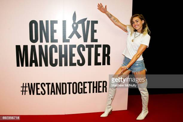 Miley Cyrus during the One Love Manchester concert at Old Trafford Cricket Ground Cricket Club on June 4 2017 in Manchester England
