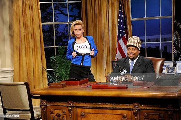 LIVE 'Miley Cyrus' Episode 1643 Pictured Miley Cyrus as Hillary Clinton Kenan Thompson as Sway Calloway