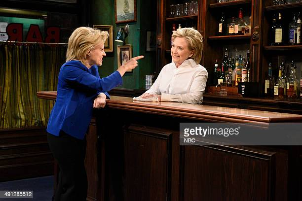 LIVE Miley Cyrus Episode 1684 Pictured Kate McKinnon as Hillary Clinton and Hillary Clinton as Val during the Bar Talk sketch on October 3 2015