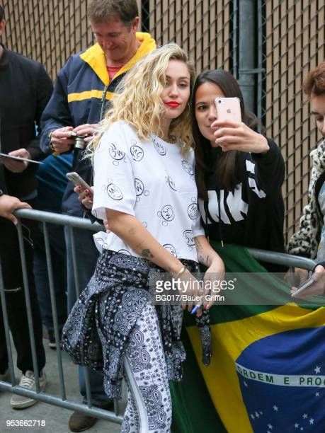 Miley Cyrus is seen arriving at 'Jimmy Kimmel Live' on May 01 2018 in Los Angeles California