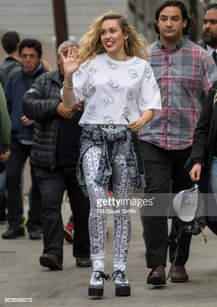 Miley Cyrus is seen at 'Jimmy Kimmel Live' on May 01 2018 in Los Angeles California