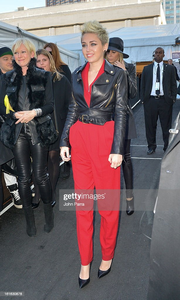 Miley Cyrus is seen during Fall 2013 Mercedes-Benz Fashion Week at Lincoln Center for the Performing Arts on February 13, 2013 in New York City.