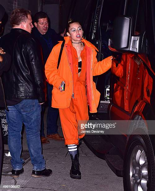 Miley Cyrus leaves Terminal 5 on November 28 2015 in New York City