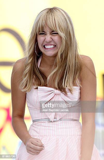 Miley Cyrus on location for 'Hannah Montana The Movie' filming on the Santa Monica Pier on July 16 2008 in Santa Monica California