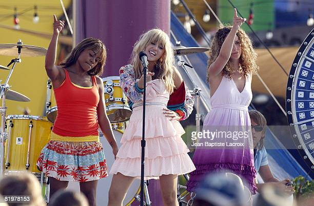 Miley Cyrus on location for Hannah MontanaThe Movie filming on the Santa Monica Pier on July 15 2008 in Santa Monica California
