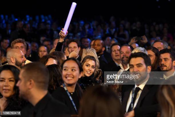Miley Cyrus participates in the auction during MusiCares Person of the Year honoring Dolly Parton at Los Angeles Convention Center on February 8 2019...