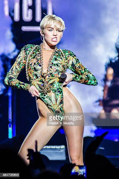 Miley Cyrus performs at Jerome Schottenstein Center on April 13 2014 in Columbus Ohio