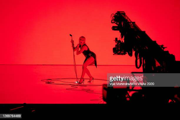 Miley Cyrus performs at the 2020 MTV Video Music Awards, broadcast on Sunday, August 30, 2020 in New York City.