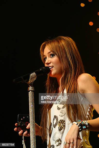 Miley Cyrus performs at The 519 Show part of BBC Switch Live at Hammersmith Apollo on October 12 2008 in London England