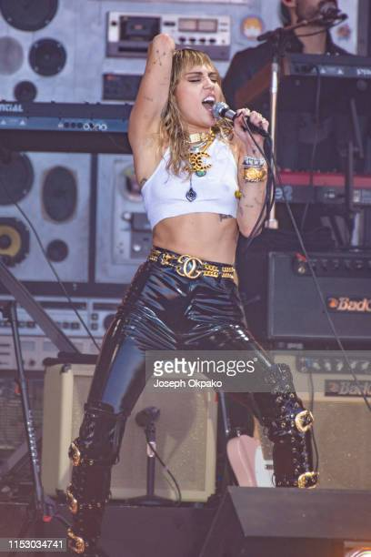 Miley Cyrus performs at the Pyramid Stage during day five of Glastonbury Festival at Worthy Farm, Pilton on June 30, 2019 in Glastonbury, England.